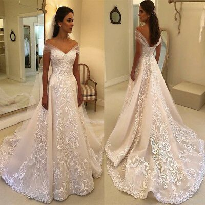 Ebay Ad Vintage Lace Wedding Dresses Off The Shoulder Applique A Line Brida A Line Bridal Gowns Wedding Dresses Mermaid Sweetheart Lace Wedding Dress Vintage