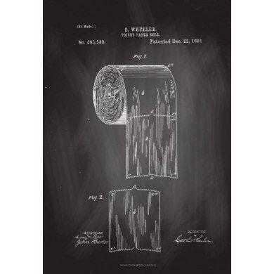 Toilet Paper Roll Patent Print Chalkboard Poster Zazzle Com Patent Prints Patent Art Toilet Paper Patent