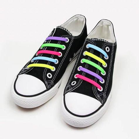 BLUE No Tie Silicone Shoelaces Elastic Shoelaces 16pcs