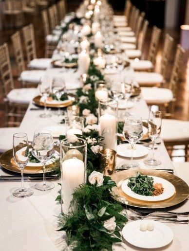 Country Music Hall Of Fame Wedding Rectangular Table Centerpieces Greenery Garland For Wedding Table Garland Winter Wedding Table Winter Wedding Centerpieces