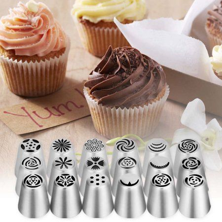 Yosoo 20 Pcs Cake Decoration Tips Cake Cupcake Decorating Supplies Ymiko Russian Nozzles Piping Tips With 20 Disposable Piping Bags 2c Walmart Com In 2020 Cupcake Decorating Supplies Cake Decorating Set Easy Cake Decorating
