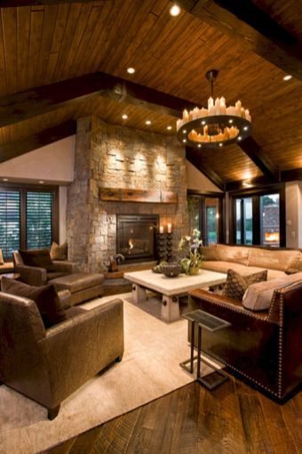 49 Superb Cozy and Rustic Cabin Style Living Rooms Ideas ...