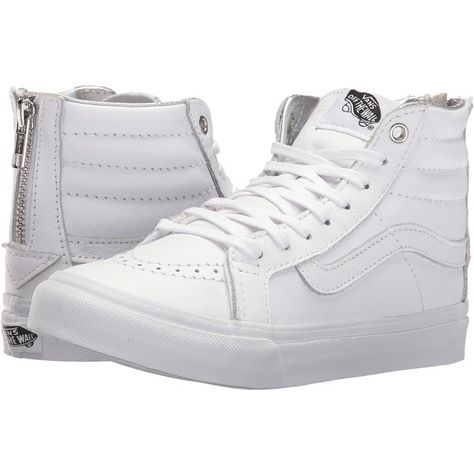 288601255725ce Vans SK8-Hi Slim Zip ((Hologram) True White True White) Skate Shoes ( 51) ❤  liked on Polyvore featuring shoes