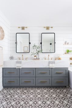 Home Decor Ideas Light Airy Bathroom With Shiplap Patterned Tile Mixed Metals Get Best Bathroom Remodel Master Bathrooms Remodel Bathroom Decor
