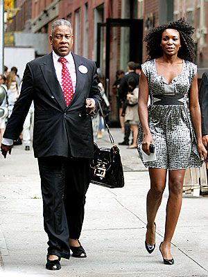 Andre Leon Talley, in peep-toe slip ons, with Venus Williams, 2009