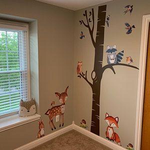 Basic Woodland Nursery Wall Decor Branch 7 Animals Fox Owl Etsy In 2021 Nursery Mural Floral Wall Decals Nursery Wall Decor