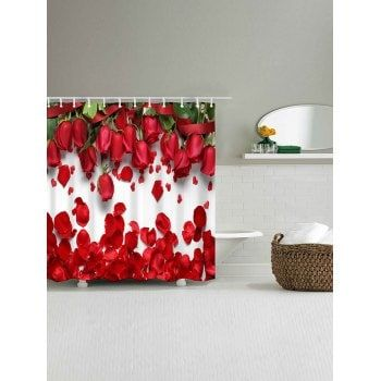 Valentine S Day Home Decor Red Rose Printed Waterproof Shower