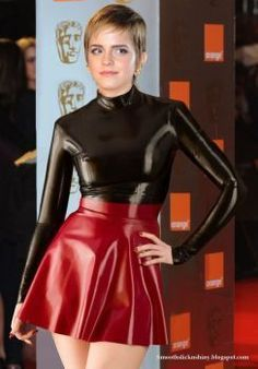 Emma watson in Black and red latex by Andylatex hot legs sexy
