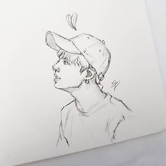 Some Jk Baseball Cap Sketches Side Profile Didn T Turn Out Too Mashed Potato So I Am Happy Bts Ban Sketches Cartoon Art Cap Drawing