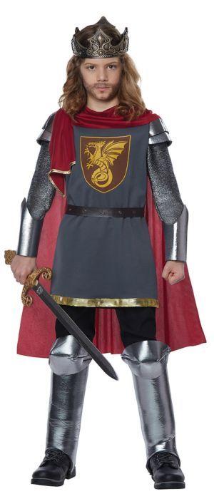 Medieval Silver Knight Child Costume Boys Girls Dragon Slayer King Prince New