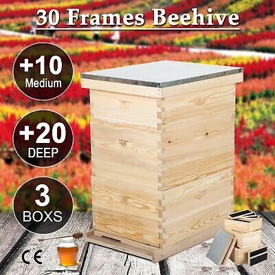 Complete Langstroth Bee Hive 10 Frame 2 Deep Box 1 Medium Box Queen Excluder In 2020 Bee Keeping Supplies Framed Bee Bee Keeping