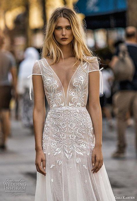 b0b59e2f80a0 gali karten 2019 bridal cap sleeves deep plunging v neck heavily  embellished bodice romantic soft a line wedding dress chapel train (6) zv  -- Gali Karten ...