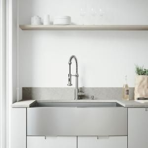 Vigo All In One 36 In Stainless Steel Single Bowl Undermount Kitchen Sink With Pull Down Faucet In Stainless Steel Vg15139 The Home Depot Farmhouse Sink Kitchen Stainless Steel Farmhouse Kitchen Sinks Apron