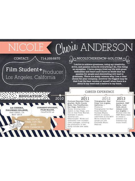 Creative Resume Film Production Student Mind Designed By Nicole Anderson