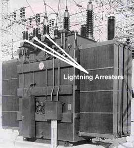 Figure 4  Lightning arrester on substation power transformer