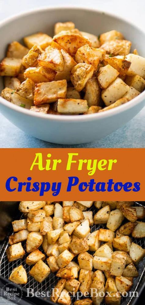 Air Fryer Roast Potatoes Recipe is the best Potatoes in Air Fryer Recipe Informations About Air Fryer Crispy Garlic Roast Potatoes - Best Crispy Air Fried Potatoes! Air Fry Potatoes, Crispy Roast Potatoes, Garlic Roasted Potatoes, Roasted Potato Recipes, How To Cook Potatoes, Fried Potatoes, Air Fryer Recipes Vegetables, Air Fryer Oven Recipes, Air Frier Recipes