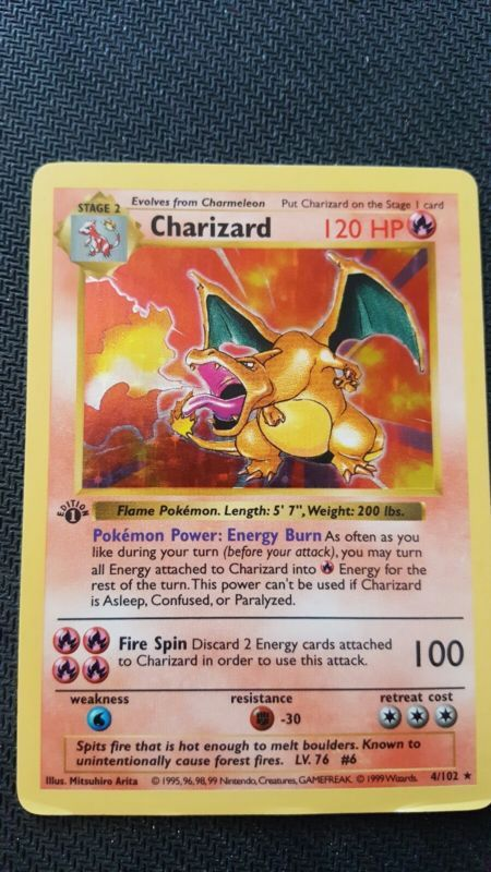 1st Edition Shadowless Charizard 4 Holographic 1999 Pokemon Card Pokemon Cards Pokemon Popular Pokemon
