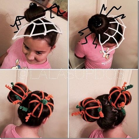 50 Incredible Halloween Hairstyles Super cute pipe cleaner hairstyles - spider and pumpkin patch buns. Love this idea for Halloween, Thanksgiving and maybe even crazy hair day! Crazy Hat Day, Crazy Hair Day At School, Crazy Hats, Holiday Hairstyles, Cute Hairstyles, Halloween Hairstyles, Wacky Hair Days, Pinterest Hair, Maquillage Halloween