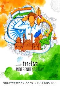 Illustration Of Indian Background With People Saluting With Famous Monument Red Fort F Independence Day Drawing Indian Independence Day Independence Day Poster