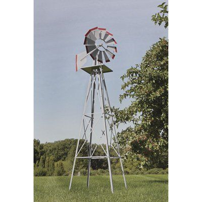 8ft Ornamental Garden Windmill Galvanized Steel Finish With Red