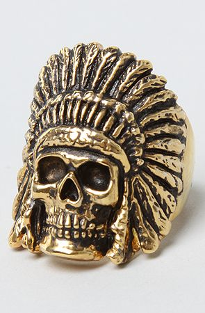 The Indian Chief Ring in Brass Plated Gold by Han Cholo