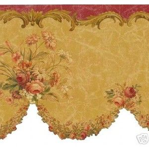 Pink Rose Vine Scalloped 149b05768 Wallpaper Border By Brewster ...