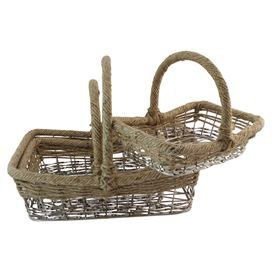 "Set of 3 nickel and wicker baskets.  Product: Small, medium, and large basketConstruction Material: Nickel and wickerColor: NaturalDimensions: Small: 12"" H x 15"" W x 10"" DMedium: 10"" H x 12"" W x 11"" D Large: 12"" H x 15"" W x 12"" D"