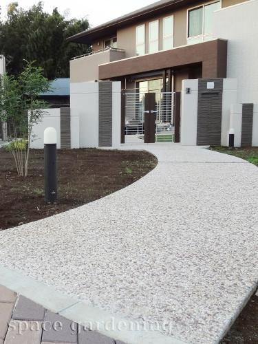 庭 外構施工例 詳細 ホームウェア 玄関アプローチ 洗い出し