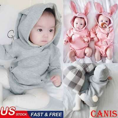 Newborn Baby Boy Girl Easter Bunny Knitting Wool Romper Bodysuit Jumpsuit Outfit