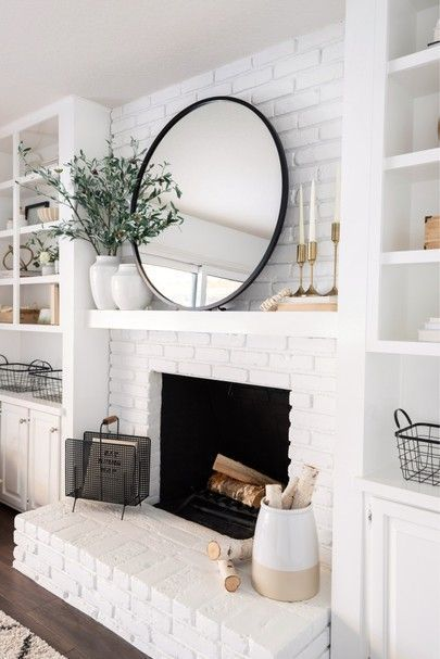 modern farmhouse living room with fireplace decor, fireplace mantle decor, mantle styling in neutral living room design with rustic mantle white brick fireplace with shiplap and open shelf decor, bookshelves next to fireplace Living Room Decor Modern, Home Fireplace, Modern Living Room, White Brick Fireplace, Farm House Living Room, Living Room With Fireplace, Brick Fireplace Makeover, Fireplace Mantel Decor, Living Room Mirrors