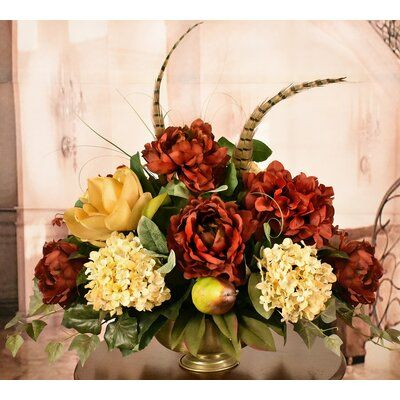 Floral Home Decor Mixed Centerpiece In Decorative Vase In 2020 Silk Hydrangeas Vases Decor Magnolia Centerpiece
