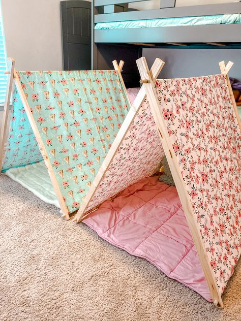 I wanted to give them their own little hide-away play space by creating a super easy, no-sew tent that made clean up a breeze.