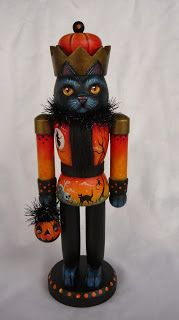 MAGIC BRUSH STUDIO: OOAK HALLOWEN BLACK CAT NUTCRACKER on e-Bay right now~