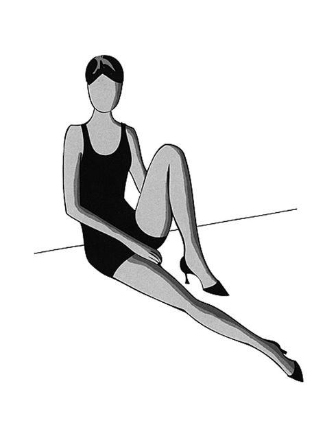Diese Pose an der Wand ist eine der natürlicheren Posen.Winkelt dabei das Bein nicht zu sehr an und achtet darauf, das Knie des liegenden Beines nicht zu