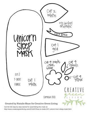 Diy Unicorn Horn Printable Sleep Mask Pattern Diy Unicorn Horns