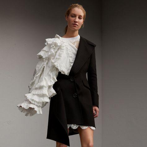 One-shoulder Lightweight Wool Cashmere Coat | Burberry