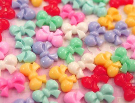 Glitter Rainbow Heart Resin Flatback Cabochon X8 Decoden Craft Embellishment