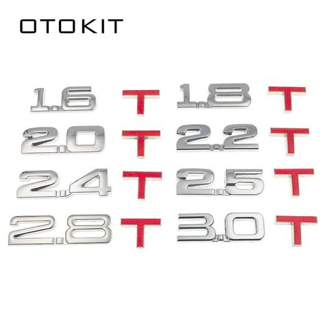 For 2.0 Emblem 3D Car Auto Metal Silver New Trunk Decal  Badge Sticker