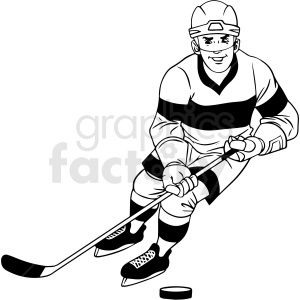 Black And White Hockey Player Skating With Puck Clipart Royalty Free Clipart 412934 Hockey Players Black White Clip Art