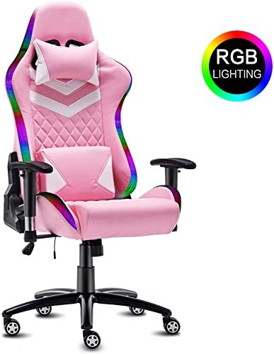 Beautiful Modern Depo High Back Ergonomic Gaming Chair With Rgb Led Lights Headrest Lumbar Support Height Adjustab In 2020 Office Desk Chair Gaming Chair Desk Chair