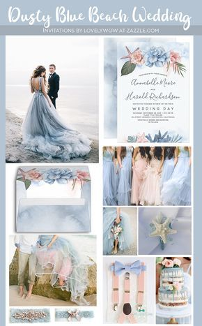 Dusty Blue and Blush Tropical Beach Wedding Invitation Zazzle com is part of Blue beach wedding Shop Dusty Blue and Blush Tropical Beach Wedding Invitation created by lovelywow Personalize it wit -