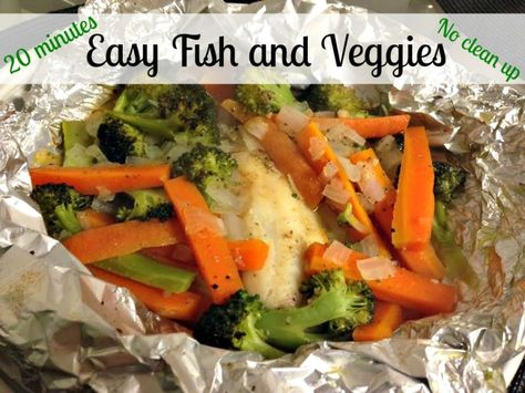 Fish & veggie foil pouches. I made this with frozen tilapia fillets, and frozen broccoli pieces, little olive oil and seasonings. (Light salt and pepper for the kids and Cajun for Sean and I) It turned out great.