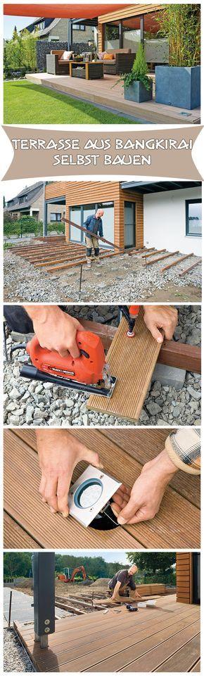 Holzterrasse selber bauen Teichfolien, Betonsteine und Holzklotz