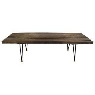 Outstanding Mid Century Black Slat Bench With Hairpin Legs Mid Century Spiritservingveterans Wood Chair Design Ideas Spiritservingveteransorg