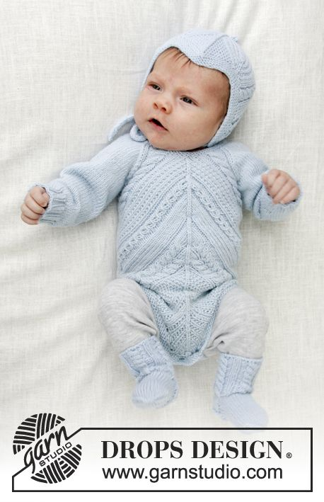 b9be43fe Knitted baby body with lace pattern and cables. Sizes premature - 4 years.  Piece is worked in DROPS BabyMerino.