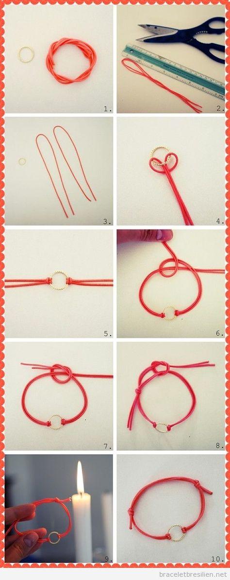 Bracelet cordes cuir et anneau, tuto pas à pas