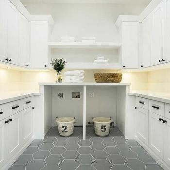 Large Gray Hexagon Laundry Room Floor Tiles With White Cabinets