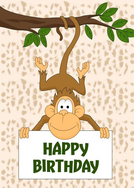 Pin By Jax Follies On Birthday Wishes Birthday Cards Cute Monkey Cards