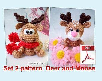 Crochet pattern moose in a mitten christmas moose moose in a mitten
