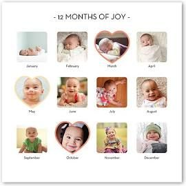 Collage Posters Baby S First Year White Poster Print Babies First Year Monthly Baby Pictures Baby Month By Month